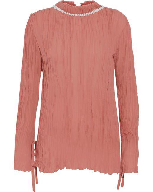 Nina Ricci - Pink Shell-embellished Plissé Silk-chiffon Blouse Antique Rose - Lyst