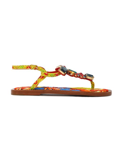Dolce & Gabbana - Multicolor Crystal-embellished Printed Leather Sandals - Lyst