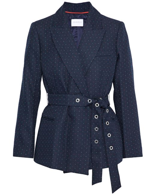 Sandro - Blue Loulou Belted Embroidered Twill Jacket Navy - Lyst