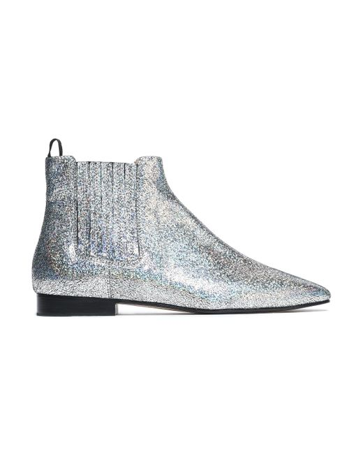 Joseph - Metallic Glittered Leather Ankle Boots - Lyst