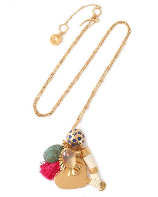 Tory Burch - Metallic Gold-tone, Moonstone, Enamel And Tassel Necklace - Lyst