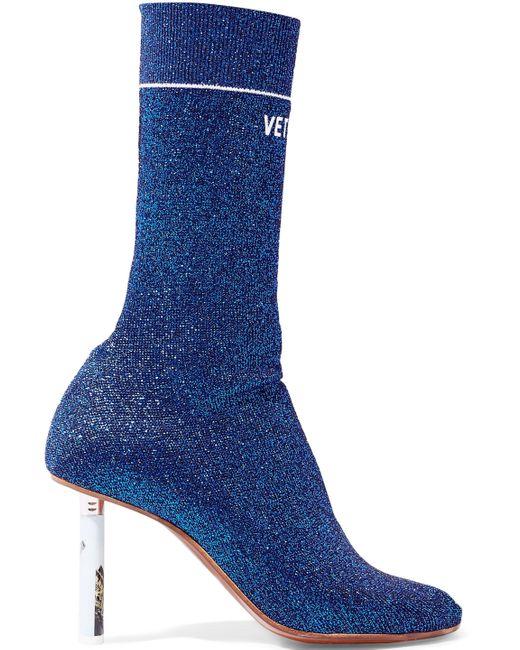 Vetements - Blue Metallic Stretch-knit Sock Boots - Lyst