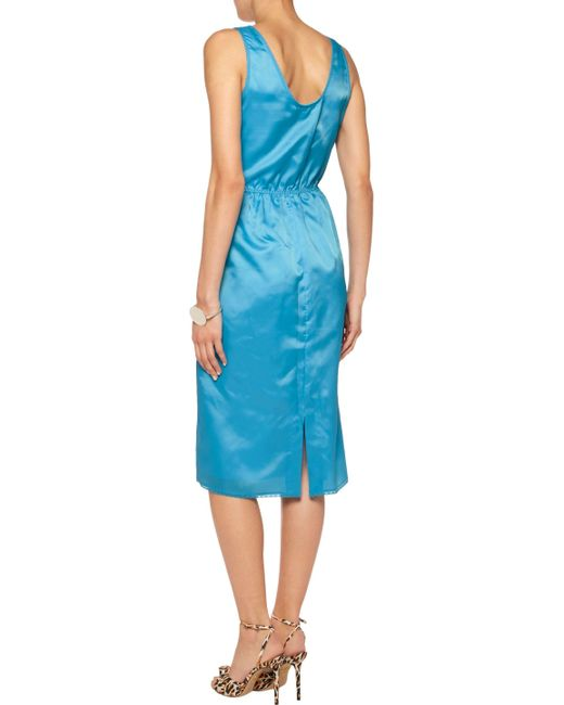 ... Marc By Marc Jacobs | Blue Lace-trimmed Gathered Satin-twill Midi Dress  ...