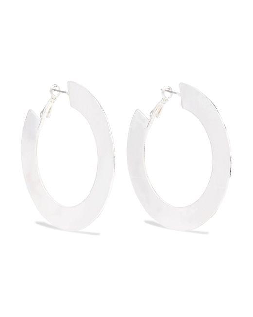 Kenneth Jay Lane - Metallic Woman Silver-tone Hoop Earrings Silver - Lyst