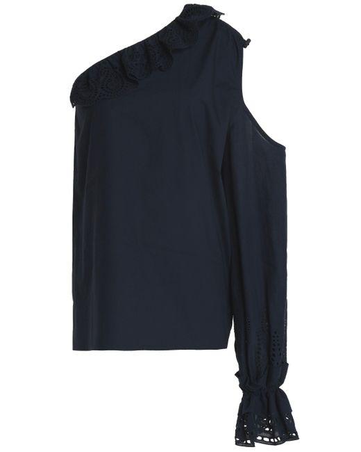 Goen.J - Blue One-shoulder Cutout Broderie Anglaise-trimmed Cotton-poplin Top - Lyst