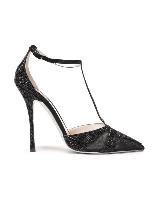 Rene Caovilla - Woman Crystal-embellished Satin And Mesh Pumps Black - Lyst