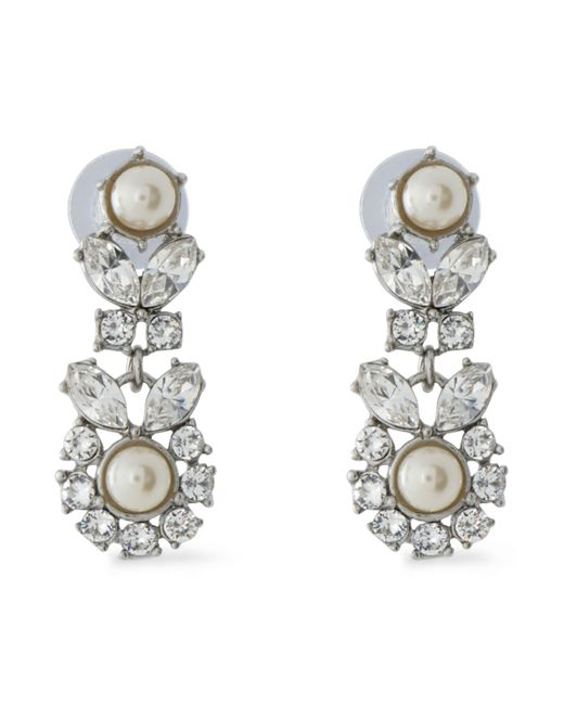 Ben-Amun | White Silver-tone, Faux Pearl And Crystal Earrings | Lyst