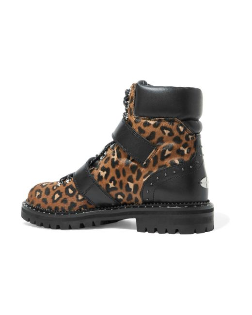 9437d6c91bb0 ... Jimmy Choo - Multicolor Woman Breeze Leather-trimmed Leopard-print Calf  Hair Ankle Boots ...