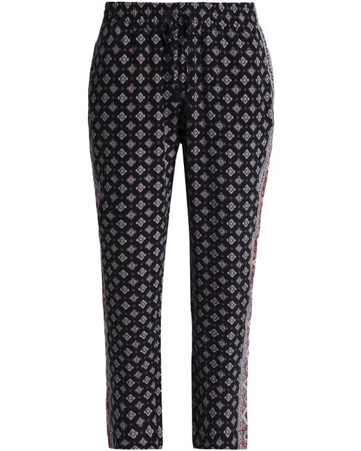 Joie - Black Deidre Cropped Printed Silk Tapered Pants - Lyst