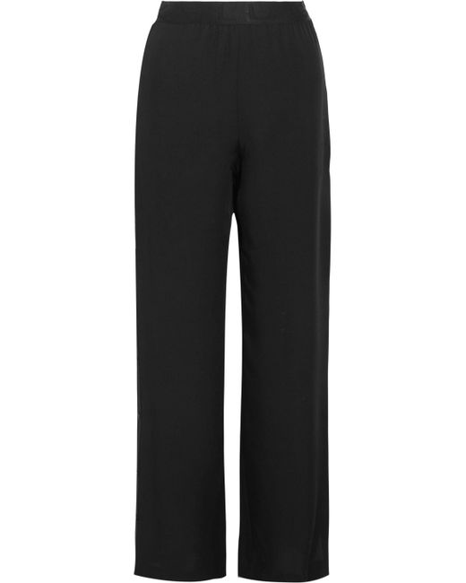 Karl Lagerfeld - Black Silk-satin Wide-leg Pants - Lyst