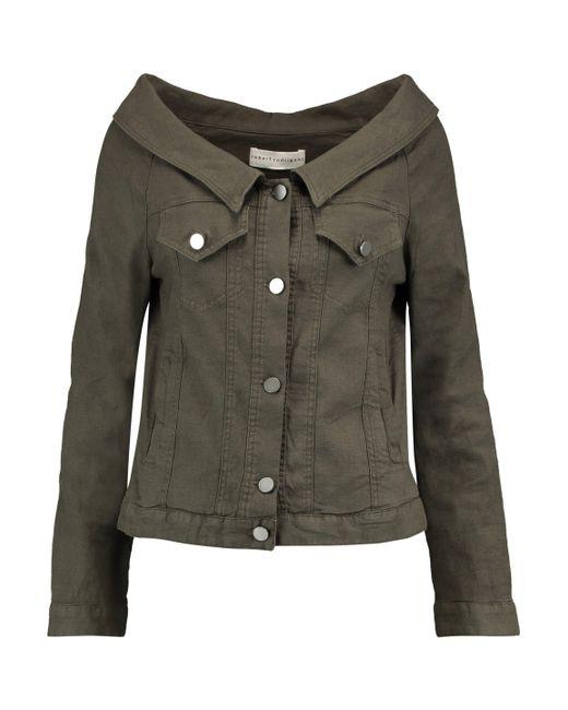 Robert Rodriguez - Green Off-the-shoulder Linen-blend Jacket - Lyst