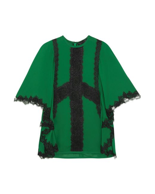 Elie Saab - Green Tie-back Lace-trimmed Crepe Blouse - Lyst