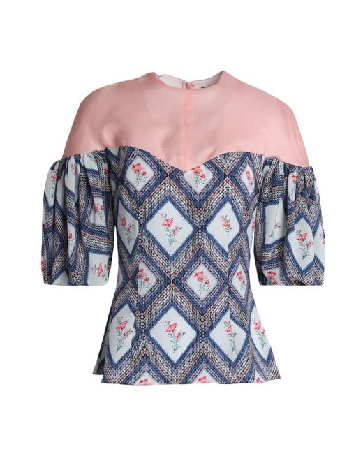 Emilia Wickstead - Pink Woven-paneled Printed Crepe Top - Lyst