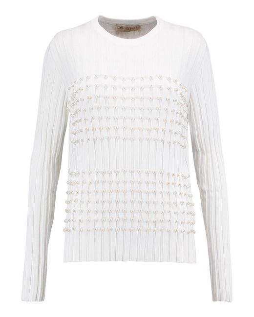 Emilio Pucci | White Faux Pearl-embellished Knitted Sweater | Lyst
