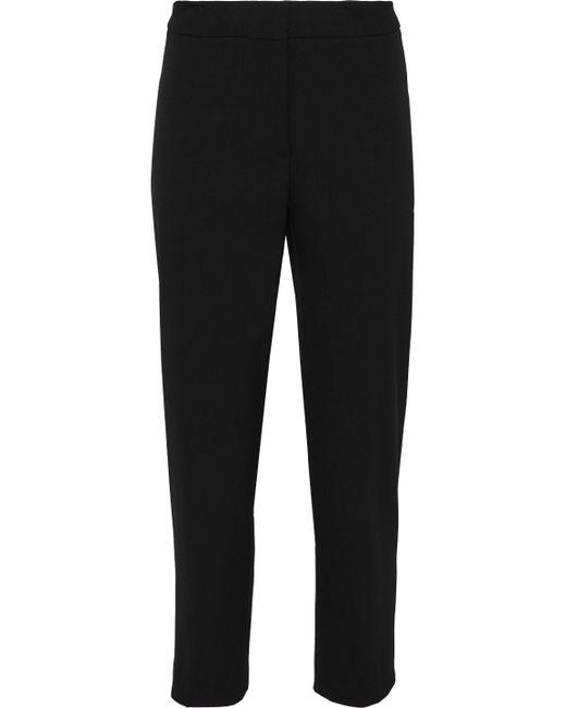 Carolina Herrera - Black Cropped Wool-blend Twill Tapered Pants - Lyst