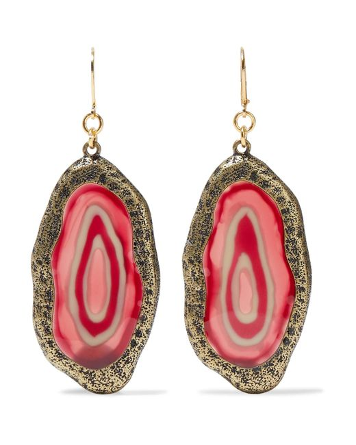 Kenneth Jay Lane - Pink Burnished Gold-tone Resin Earrings - Lyst