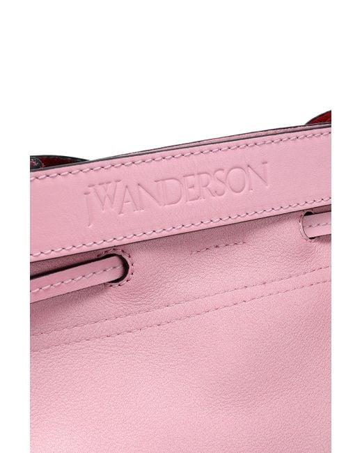 8a051292fb4 ... J.W. Anderson - Pink Woman Two-tone Leather Bucket Bag Bubblegum - Lyst  ...
