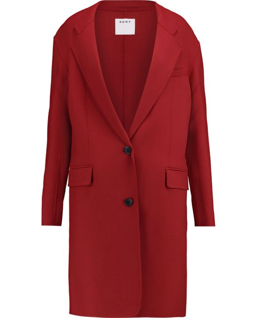 DKNY - Red Woven Stretch-wool Coat - Lyst