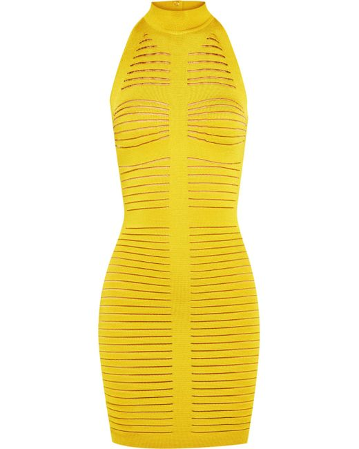 Balmain - Yellow Cutout Ribbed Stretch-knit Mini Dress - Lyst