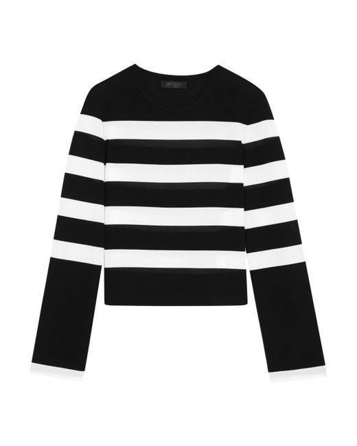 Calvin Klein | Black Striped Stretch-jersey Top | Lyst