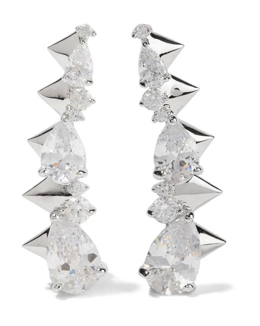 Noir Jewelry | Metallic Arctic Ice Silver-tone Crystal Earrings | Lyst