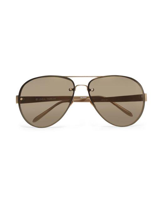 Linda Farrow - Brown Aviator-style Gold-tone And Acetate Sunglasses - Lyst