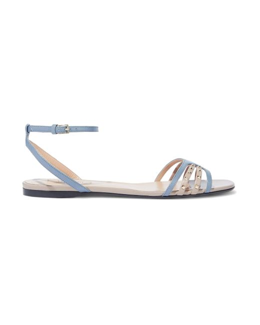 a9f96538b Valentino Studded Two-tone Leather Sandals Light Blue in Blue - Lyst