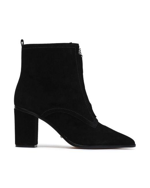 Schutz - Black Zip-detailed Suede Ankle Boots - Lyst