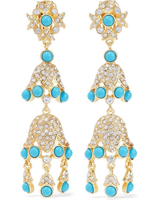 Kenneth Jay Lane - Metallic Gold-tone, Stone And Crystal Clip Earrings - Lyst