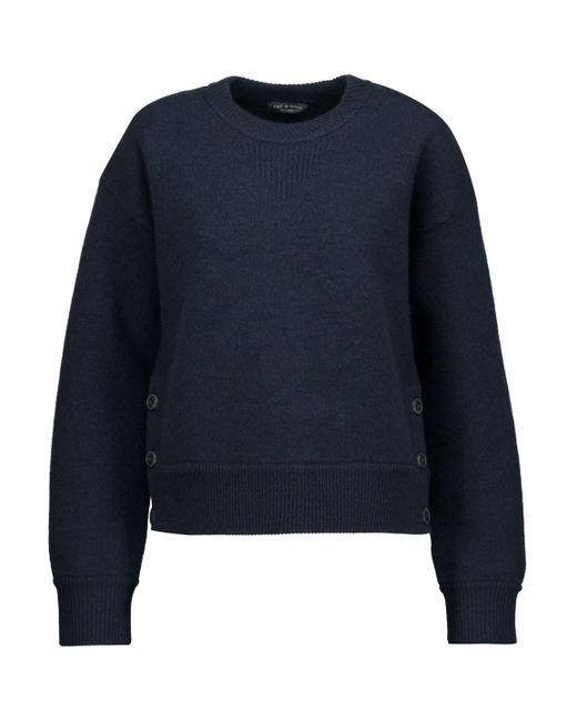 Rag & Bone - Blue Kassidy Button-detailed Merino Wool Sweater - Lyst
