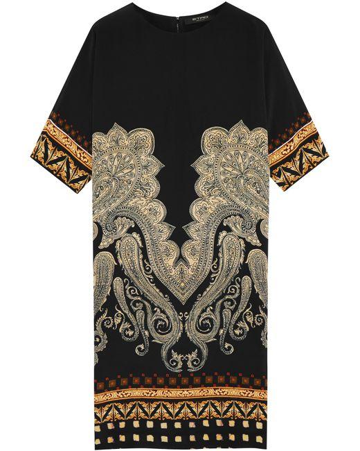 Etro   Black Printed Stretch-silk Dress   Lyst