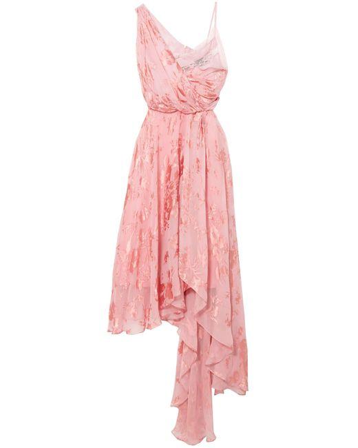 Preen By Thornton Bregazzi - Pink Elenora Asymmetric Devoré Silk-blend Chiffon And Crepe De Chine Dress - Lyst