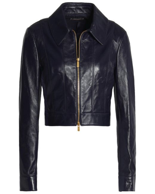Michael Kors - Blue Leather Jacket - Lyst