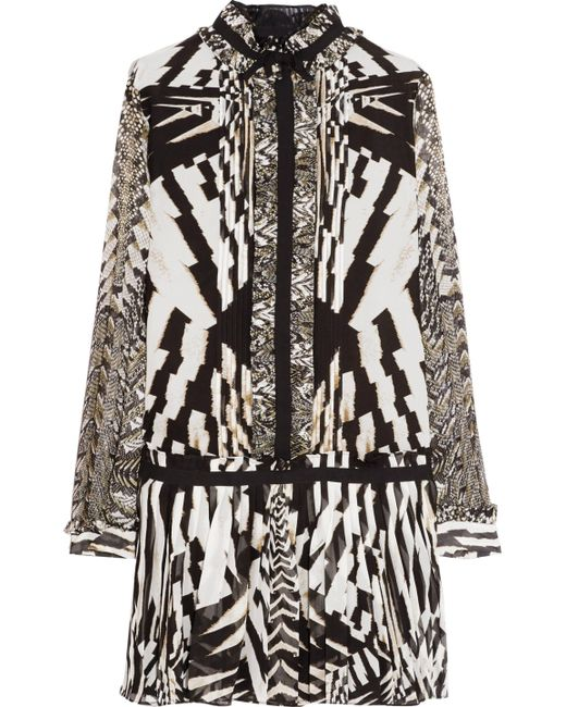 Roberto Cavalli   Black Pleated Printed Silk-chiffon Mini Dress Animal Print   Lyst