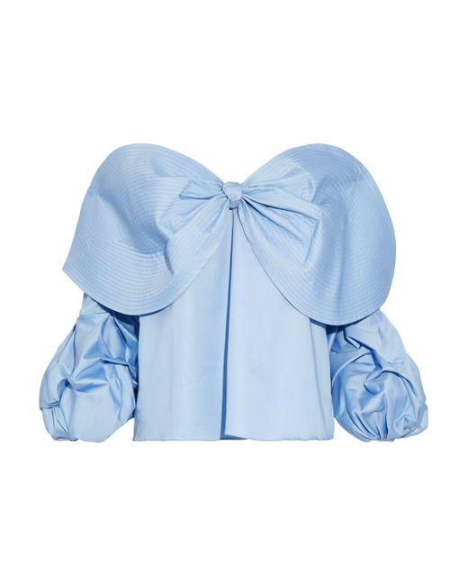 Johanna Ortiz - Blue Caravan Off-the-shoulder Bow-embellished Cotton-poplin Blouse - Lyst
