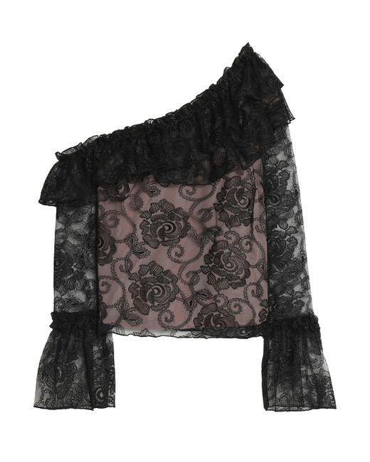 Nicholas   Black Rosie Lace One Shoulder Ruffle Top   Lyst