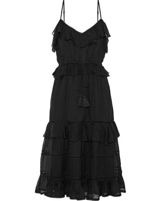 Love Sam - Black Blossom Lattice-trimmed Ruffled Voile Dress - Lyst