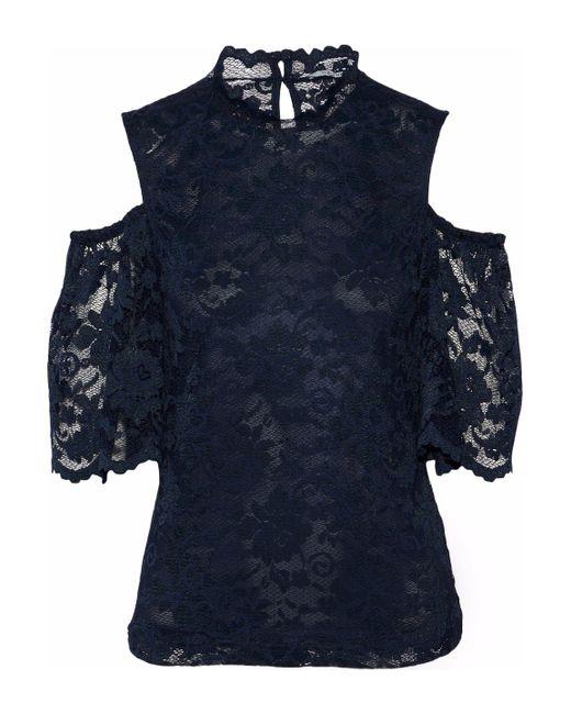 Ganni - Blue Flynn Cold-shoulder Lace Top - Lyst