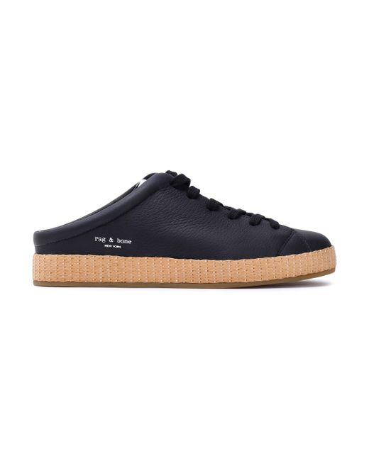 Rag & Bone - Black Leather Sneakers - Lyst
