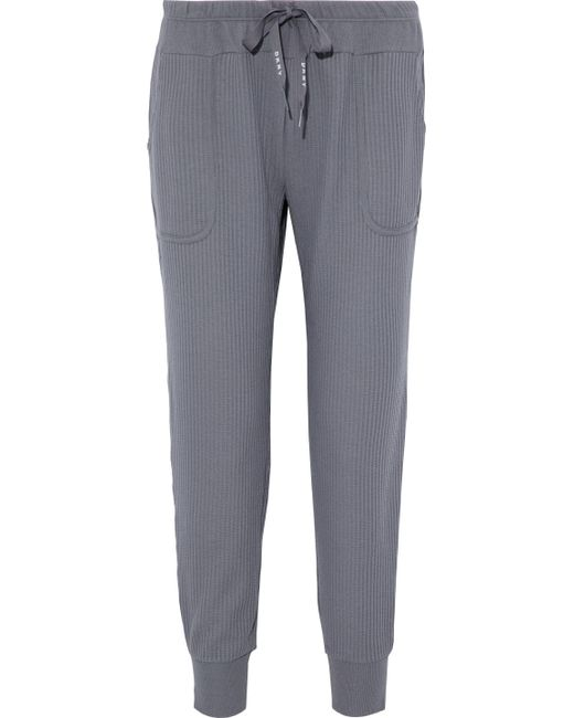 DKNY - Gray Ribbed Cotton-blend Jersey Pajama Pants - Lyst