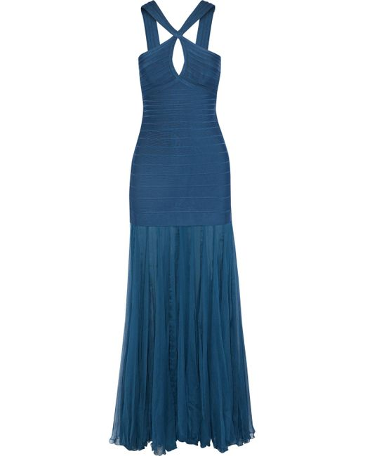Hervé Léger - Blue Gauze-paneled Cutout Bandage Gown - Lyst
