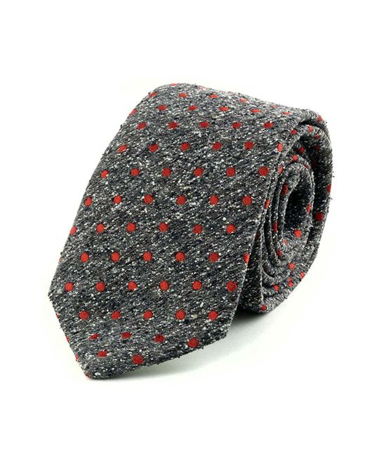 Augustus Hare - Gray Grey And Red Spot Noile Silk Tie for Men - Lyst