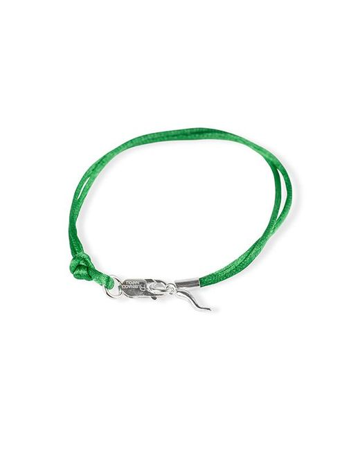 Rubinacci - Green And Silver Pendant Silk Bracelet - Lyst