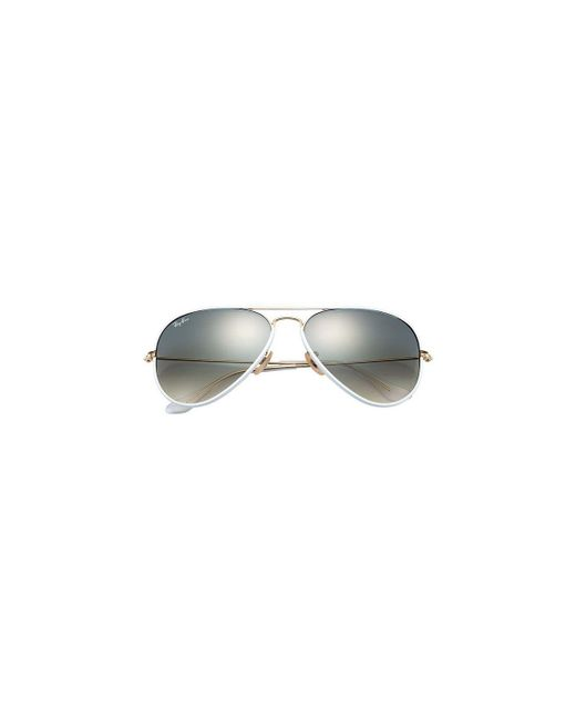 af7f7cd3f9832 ... Ray-Ban - Aviator Full Colour Rb3025jm 146 32 White And Gold Frames  With ...