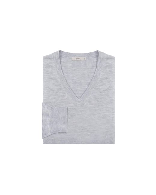 Cifonelli   Gray Grey Cashmere And Silk V-neck Sweater for Men   Lyst