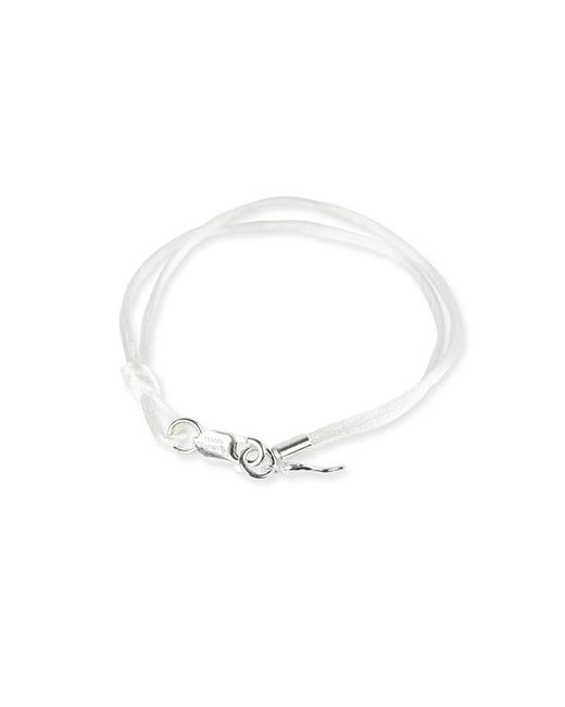 Rubinacci - White And Silver Pendant Silk Bracelet for Men - Lyst