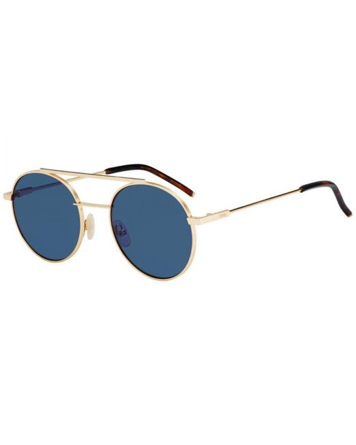 05ddc4857ef1 Fendi - Metallic Air Gold Round Frames With Blue Lenses Sunglasses Ff0221 s  000