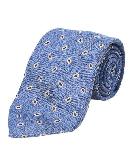 Calabrese 1924 - Light Blue And Brown Paisley Silk And Linen Tie for Men - Lyst