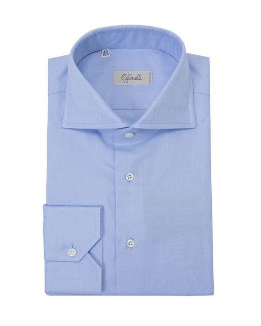 Cifonelli - Blue Spread Collar French Cuff Cotton Shirt for Men - Lyst