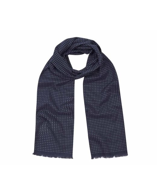 Anderson & Sheppard - Blue Navy And White Tubular Cotton Spotted Scarf for Men - Lyst